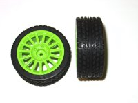 1/16 On-Road Wheels and Tyres (8mm Hex) with Green Rims (2 pcs)