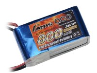 800mAh Gens Ace 20-40C 3S1P 11.1V Lipo Battery Pack
