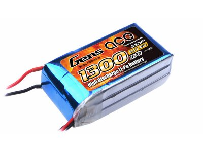 1300mAh Gens Ace 25-50C 3S1P 11.1V  Lipo Battery Pack