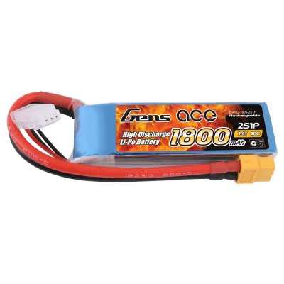 1800mAh Gens Ace 40-80C 2S1P 7.4V Lipo Battery Pack