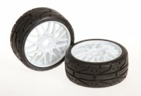 DragonRC 1:8 GT Medium Compound Tires with White Rims - 215016