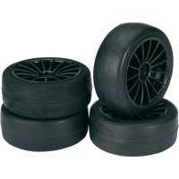 "Absima 2510001 - 1/10 Onroad ""20 Spoke"" Slick Tyres with Black rims - 4 Pcs"