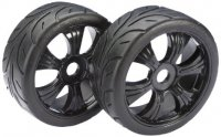 "Absima 2530003 - 1/8 Buggy LP ""Street"" Tyres with Black Rims - 2 Pcs"