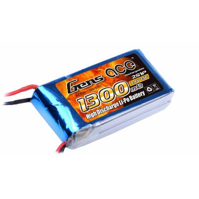 1300mAh Gens Ace 25-50C 2S1P 7.4V Lipo Battery Pack