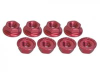3Racing 4mm Red Aluminum Locknut Serrated 8 Pcs - 3RAC-NS40/RE