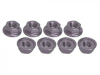 3Racing 4mm Aluminum Locknut Serrated 8 Pcs - 3RAC-NS40/TI