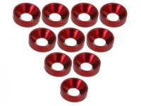 3Racing Red Aluminium M3 Countersink Washer 10 Pcs - 3RAC-WC3/RE