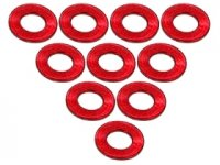 3Racing Red Aluminium M3 Flat Washer 0.5mm 10 Pcs - 3RAC-WF305/RE