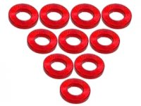 3Racing Red Aluminium M3 Flat Washer 1.0mm 10 Pcs - 3RAC-WF310/RE