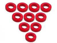 3Racing Red Aluminium M3 Flat Washer 1.5mm 10 Pcs - 3RAC-WF315/RE