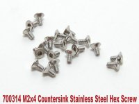 PN Racing 700314 - M2x4 Countersink Stainless Steel Hex Machine Screw - 20 Pcs