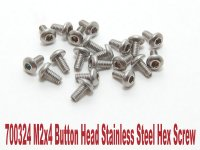 PN Racing 700324 - M2x4 Button Head Stainless Steel Hex Machine Screw - 20 Pcs