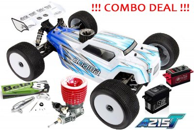 COMBO DEAL - 1/8 AGAMA A215T Nitro Truggy Kit + Argus R8 Engine + Beta 2106 Pipe set + PowerHD Servos