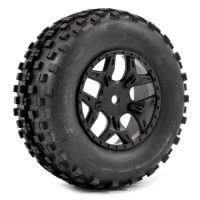 FTX FAST1106B - 1:10 SC Rock block  Mounted tyres with 5 Spokes Black Rims - 2 Pcs