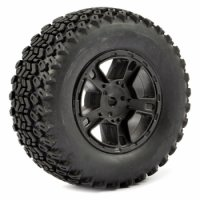 FTX FAST1111B - 1:10 SC Zigzag  Mounted tyres with 5 Spokes Black Rims - 2 Pcs